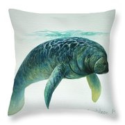 Caribbean Manatee Throw Pillow