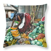 Caribbean Market Day Throw Pillow