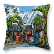 Caribbean Outdoor Market Throw Pillow