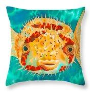Caribbean Puffer Throw Pillow