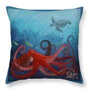 Caribbean Reef Octopus Throw Pillow