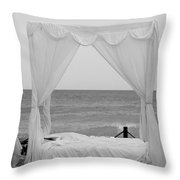 Caribbean Relaxation Bed Single Vertical - Height For Triptych Black And White Throw Pillow