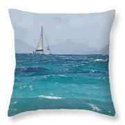 Caribbean Sailing Throw Pillow
