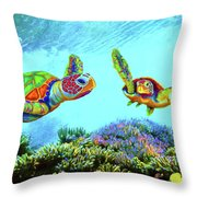 Caribbean Sea Turtle And Reef Fish Throw Pillow