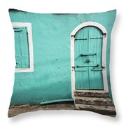 Caribbean Storefront Throw Pillow