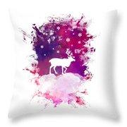 Caribou Winter Art Throw Pillow