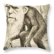 Caricature Of Charles Darwin Throw Pillow