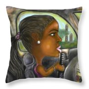 Caricature Ride With Jay Throw Pillow