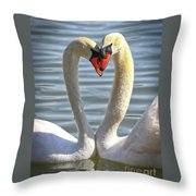 Caring Swans Throw Pillow
