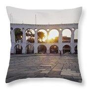 Carioca Aqueduct, Rio De Janeiro Throw Pillow