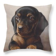 Carl Reichert 1836-1918 Junger Dackel 1918 Throw Pillow
