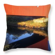 Carleton Covered Bridge Reflection Throw Pillow