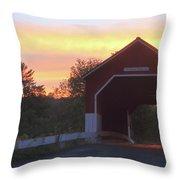 Carlton Covered Bridge Swanzey Nh Sunset Throw Pillow