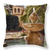 Carmel Fountain Courtyard Throw Pillow