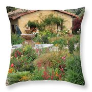 Carmel Mission Courtyard Garden Throw Pillow