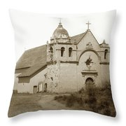 Carmel Mission  With The New Peaked Roof  1884 Throw Pillow