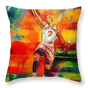Carmelo Anthony New York Knicks Throw Pillow by Leland Castro