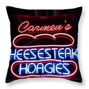 Carmens Cheesesteaks Throw Pillow