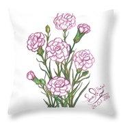 Carnation Pink Throw Pillow