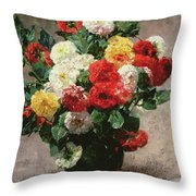 Carnations In A Vase Throw Pillow