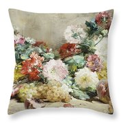 Carnations, Roses, Grapes And Peaches Throw Pillow