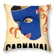 Carnaval En La Habana 1941 - Carnival Mask - Retro Travel Poster - Vintage Poster Throw Pillow
