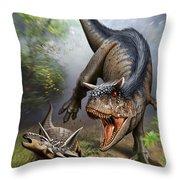 Carnotaurus Attacking An Antarctopelta Throw Pillow