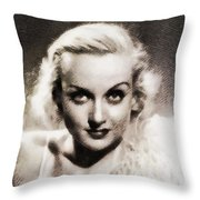 Carole Lombard, Vintage Actress By John Springfield Throw Pillow
