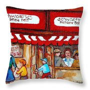 Carole Spandau Paints Montreal Memories - Montreal Landmarks - Schwartzs Hebrew Deli St. Laurent  Throw Pillow
