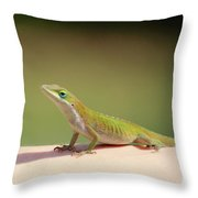 Carolina Anole Throw Pillow