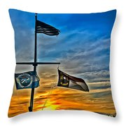 Carolina Beach Lake Flag Pole V2 Throw Pillow
