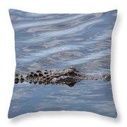 Carolina Beach Marina Alligator Throw Pillow