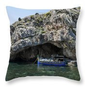 Caroline Cave And Maltese Traditional Boat Throw Pillow