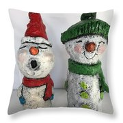Caroling Snowmen Throw Pillow by Vickie Scarlett-Fisher