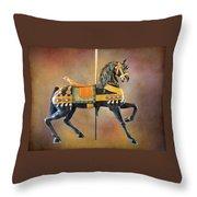 Carousel Black Stallion Body Throw Pillow