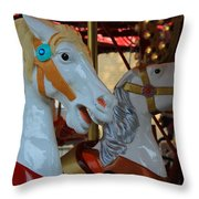 Carousel Horses At A Fair Throw Pillow