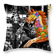 Carousel In Isolation Throw Pillow