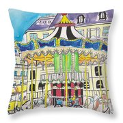 Carousel Paris Illustration Hand Drawn Throw Pillow