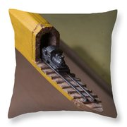 Carpenter Pencil Carved Into A Train By Cindy Chinn Throw Pillow