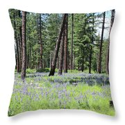 Carpet Of Lupine In Washington Forest Throw Pillow