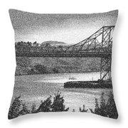 Carquinez Bridge Pointilized B And W Throw Pillow
