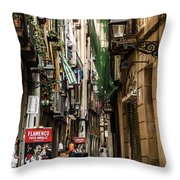 Carrer D'en Roca Barcelona Throw Pillow