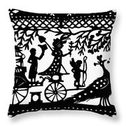 Carriage & Peacocks Throw Pillow