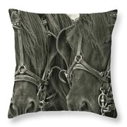 Paired Carriage Ponies Throw Pillow