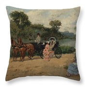 Carriage Ride By The River Throw Pillow