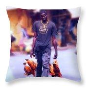 Carrying Chickens To Dakar Throw Pillow