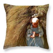 Carrying The Hay Throw Pillow