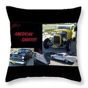 Cars From American Graffiti Throw Pillow