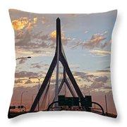 Cars On The Move- Lenny Zakim Bridge Sunset Throw Pillow