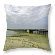 Cars Travelling On Ryde Pier Throw Pillow